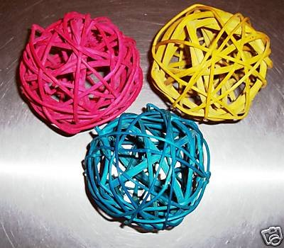 """4"""" Colored Twine Balls bird toy parts parrots crafts (3)"""