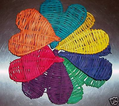 5 Colored Twine Hearts bird toy parts parrots crafts