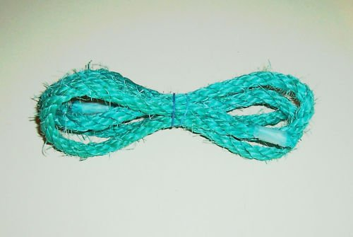 """1/4"""" SKY BLUE SISAL Rope Unoiled bird toy parts 5' glider"""