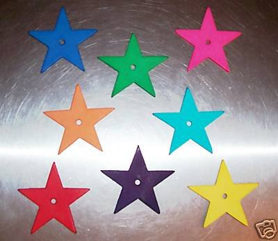 8 Med Colored Leather Stars bird toy parts parrot craft