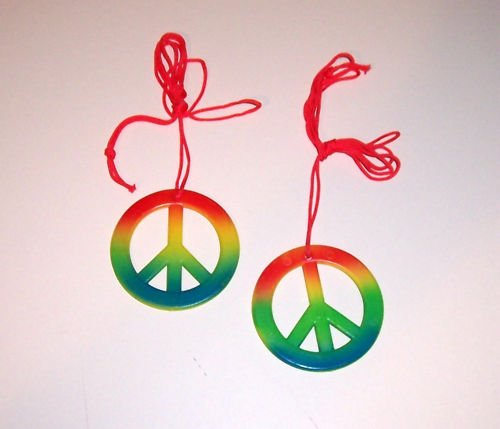 2 PEACE SIGN Necklaces toys gifts prizes kids favors fun