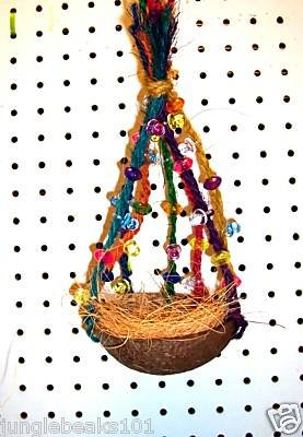 FANCY COCONUT SWING bird toy parrots cages perch canary