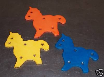 2 Colored Leather Horses bird toy parts parrots cages