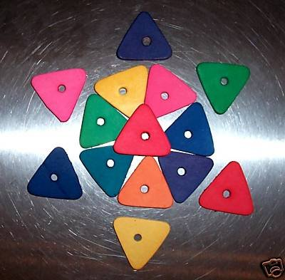 8 Colored Leather Triangles bird toy parts parrots cage
