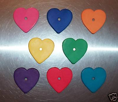 8 Colored Leather Hearts Med bird toy parts parrots cages