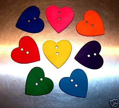 2 Colored Leather Hearts bird toy parts parrots cages