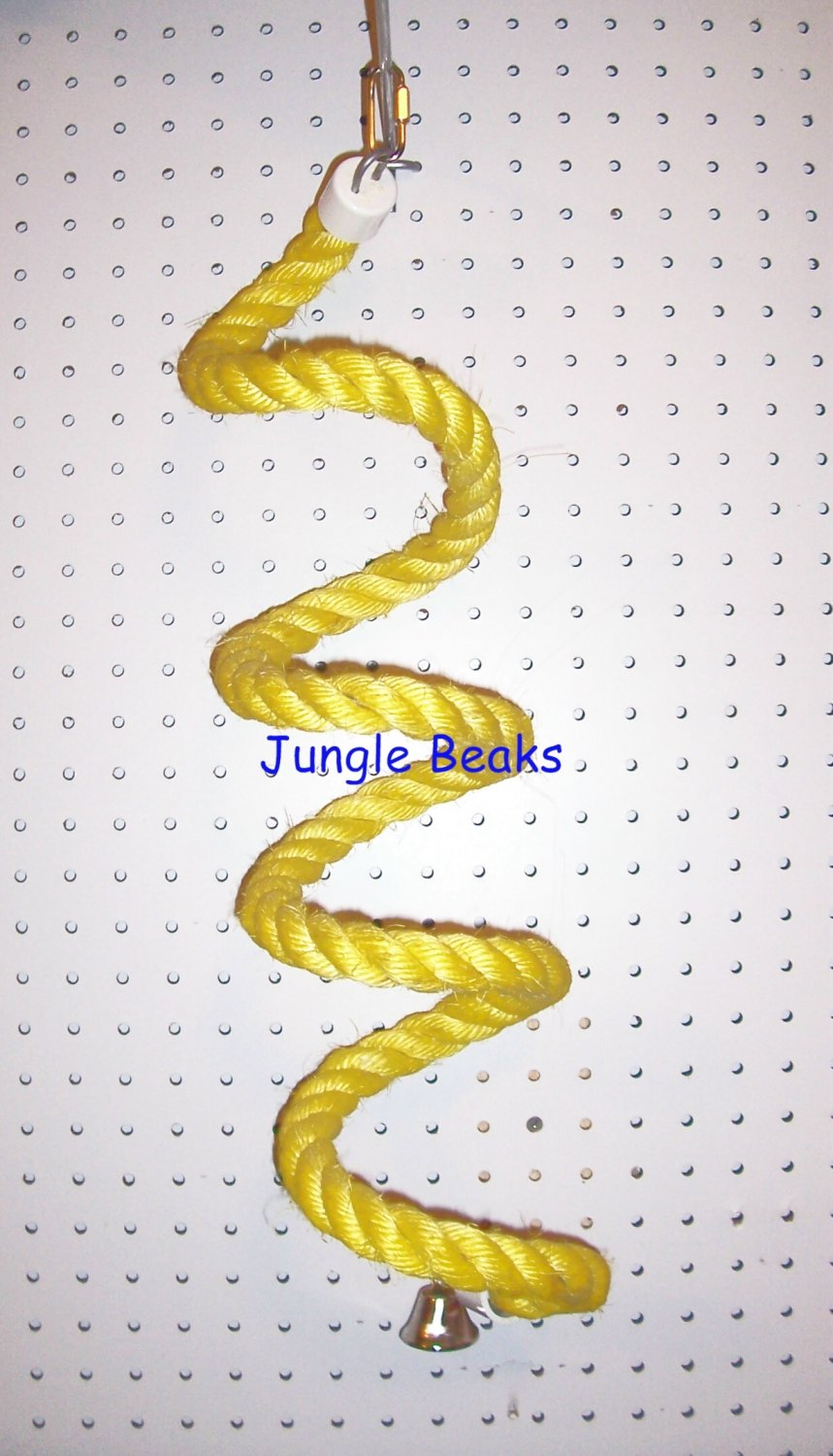 YELLOW LARGE Sisal Rope Boing bird toy parts parrots cages perch
