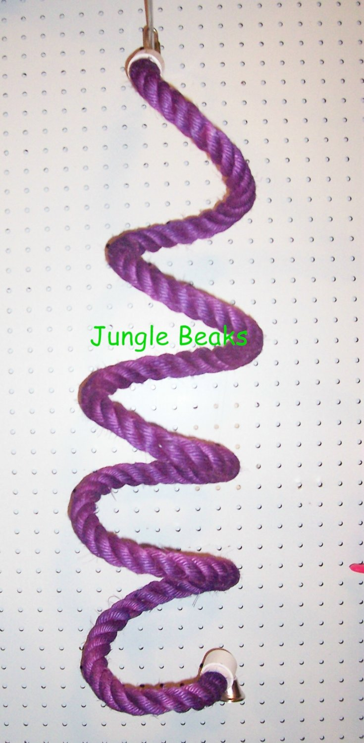 PURPLE LARGE Sisal Rope Boing bird toy parts parrots cages perch