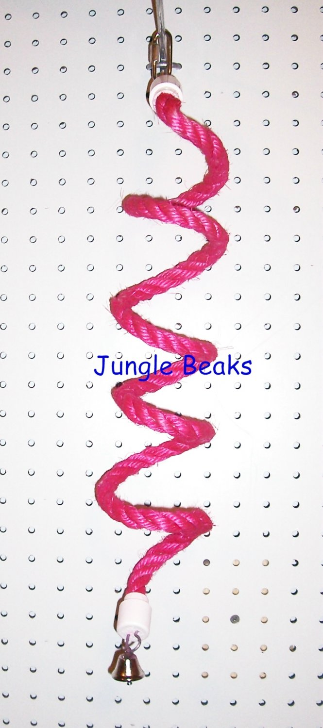 SMALL PINK Sisal Rope Boing bird toy swing parts parrots cages perches