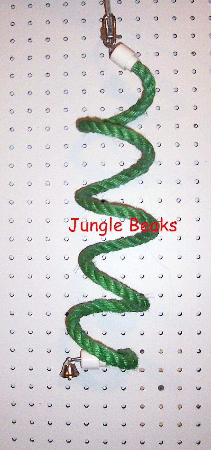 SMALL GREEN Sisal Rope Boing bird toy swing parts parrots cages perches