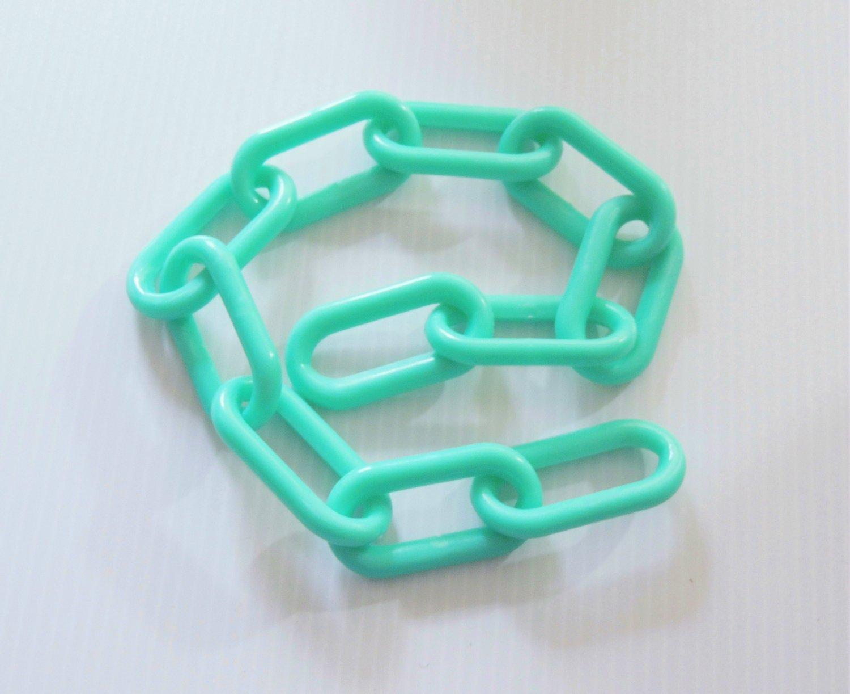 "2' of 3"" AQUA Plastic Chain bird toy parts parrots cages monkeys"
