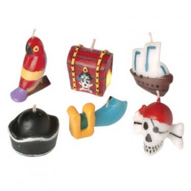 6 PIRATE CANDLES toys gifts prizes kids birthday party