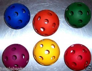 "6 Whiffle Like Colored balls HUGE 4"" Sturdy for bird toy parts parrots"