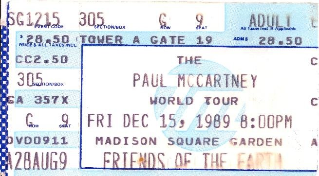 Paul mccartney world tour ticket stub friday december 15 - Paul mccartney madison square garden tickets ...