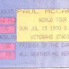Paul McCartney World Tour Full Unused Ticket July 15, 1990 Veterans Stadium Philadelphia Concert