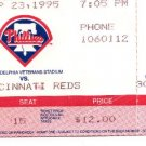Philadelphia Phillies vs Cincinnati Reds 9/23/1995 Veterans Stadium TICKET STUB