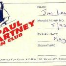 The Paul McCartney Fun Club 1998 Membership Card Collector's Memorabilia Fan Club VERY RARE ITEM!