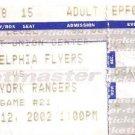 Philadelphia Flyers / New York Rangers Ticket Stub 1/12/2002 First Union Center Philadelphia, PA