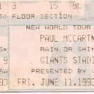 Paul McCartney Ticket Stub June 11,1993 Giants Stadium The Meadowlands, NJ Concert