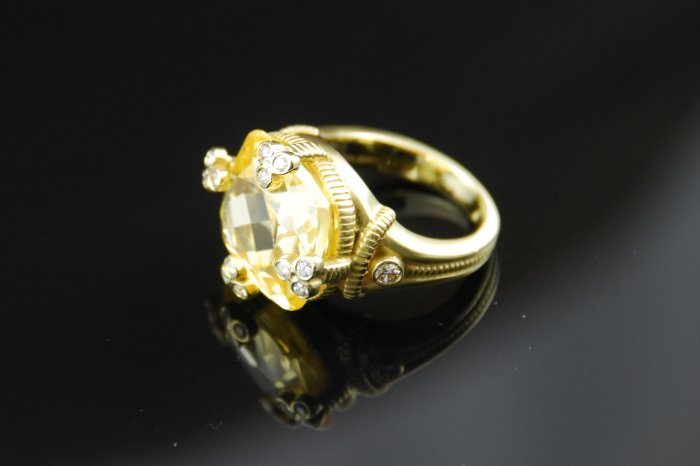 Judith Ripka Citrine 18K Diamond Ring