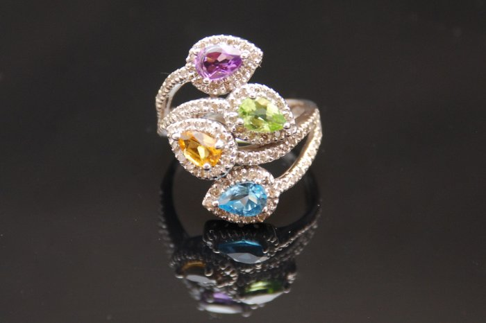 Diamond Citrine, Topaz, Peridot, Amethyst Leaves 14K Gold Ring