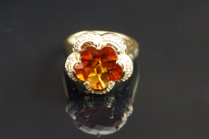 Madeira Citrine Flower Diamond 14K Ring