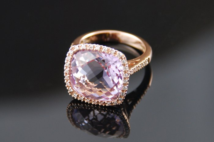 Rose de France Amethyst Diamond 14K Ring