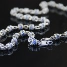 Judith Ripka Blue Sapphire Diamond Barrel Necklace