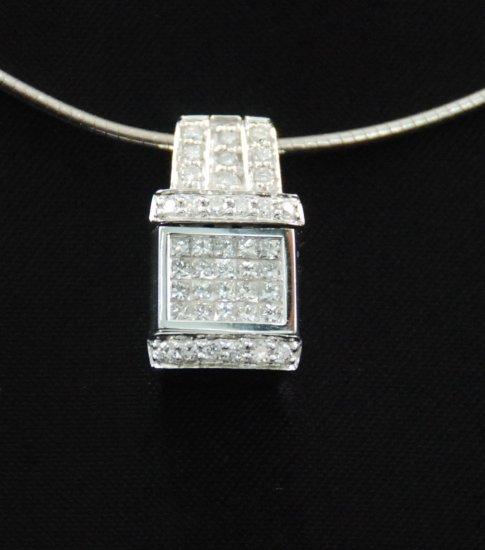 Diamond Sapphire Reversible Pendant Necklace