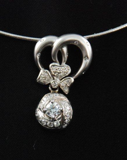 18K Diamond Flower Pendant with 14K Chain