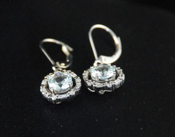 Round Aquamarine Diamond 14K Earrings