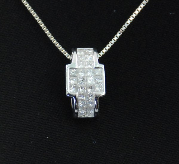 Geometric Square and Rectangular Cross shape Diamond Pendant and 18K Necklace