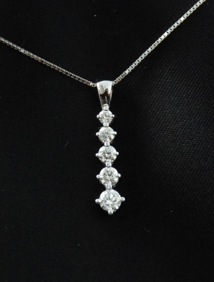 Elegant Tapered Line of Diamonds Pendant 14K Necklace