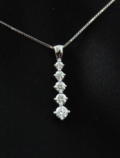 Elegant Tapered Line of Diamonds Pendant 14K Necklace