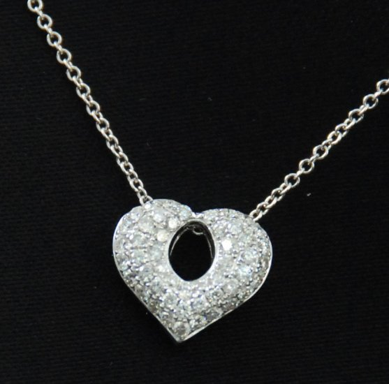 Bubbly Diamond Heart Pendant 18K Necklace