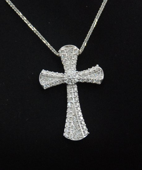 Large Diamond Cross Pendant 18K Necklace