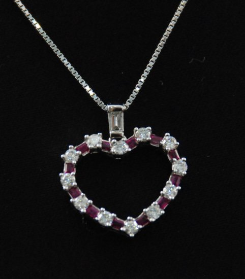 Diamond Ruby Heart Pendant Necklace 18K