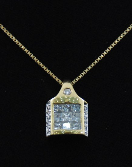 Square House of Diamonds Pendant 18K Necklace