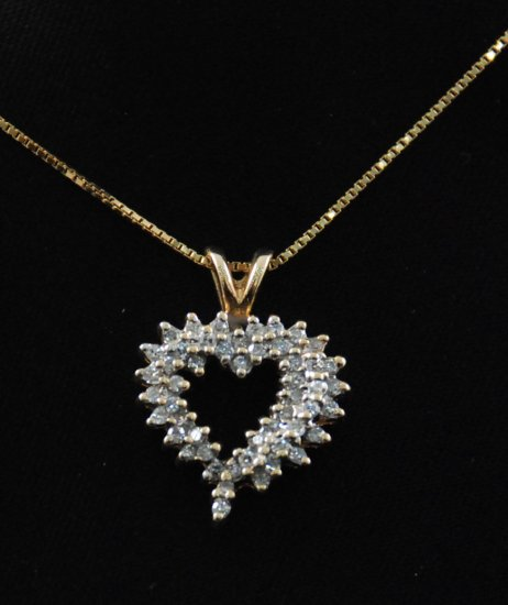 Large Playful Diamond Heart Pendant 14K Necklace