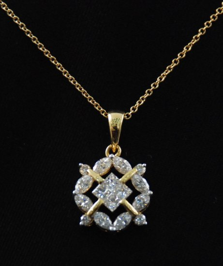 Flower Square Diamond Pendant 18K Necklace.
