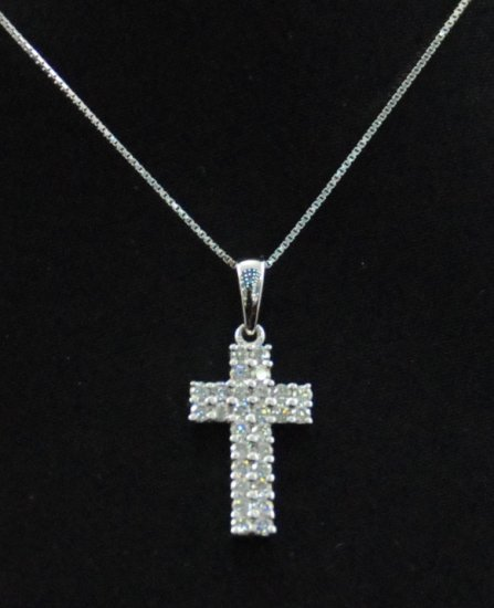 Diamond Cross Pendant 18K Necklace