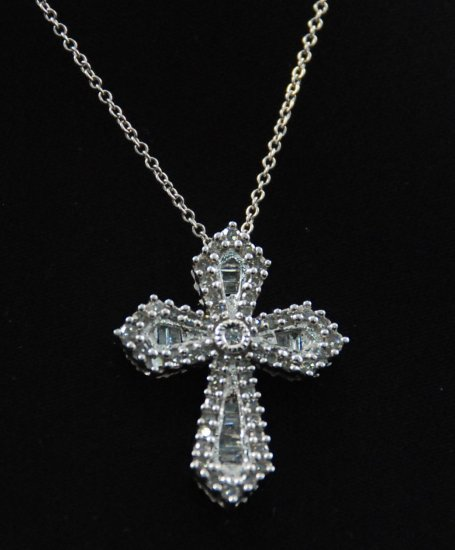 French Baroque Diamond Cross Pendant 14K Necklace