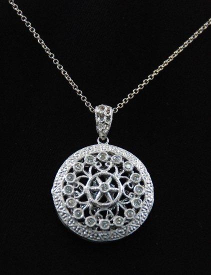 Baroque French Round Diamond Locket Pendant 14K Necklace