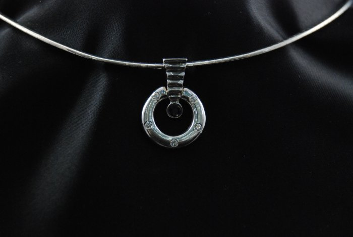 Circle of Diamond Pendant with Blue Sapphire and Thick Omega 14K Necklace