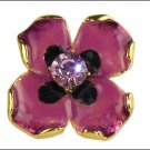 Kenneth Jay Lane KJL Rose Enamel Crystal Flower Ring