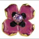 Kenneth Jay Lane KJL Rose Enamel Crystal Flower Ring