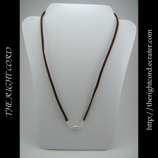 "24"" Chocolate Brown Faux Leather Suede Necklace Cord Microfiber with Barrel Clasp"