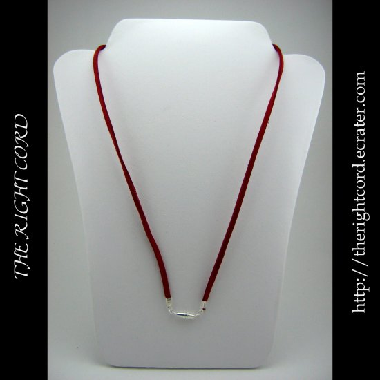 "24"" Crimson Red Faux Leather Suede Necklace Cord Microfiber with Barrel Clasp"