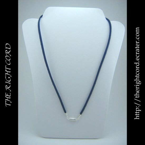 "24"" Denim Blue Faux Leather Suede Necklace Cord Microfiber with Barrel Clasp"