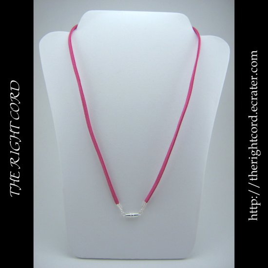 "24"" Hot Pink Faux Leather Suede Necklace Cord Microfiber with Barrel Clasp"